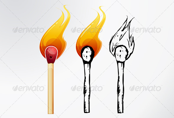 Match Sticks Sketch - Illustration - Abstract Conceptual