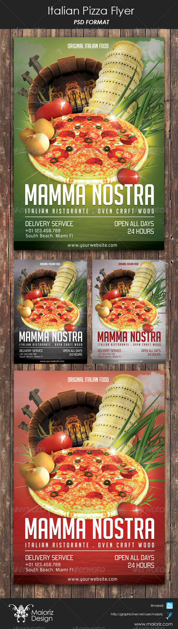 Italian Pizzeria Restaurant Flyer - Restaurant Flyers