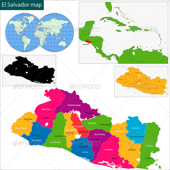 El Salvador Map By Volina GraphicRiver - Map of el salvador