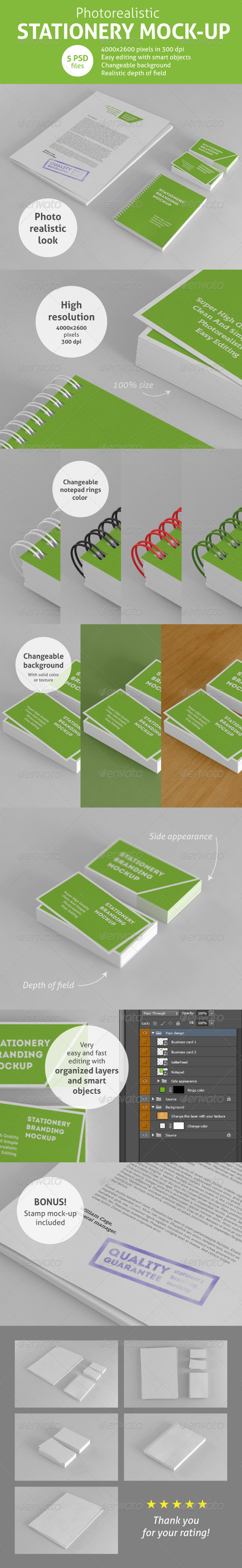 Photorealistic Stationery Branding Mock-Up - Stationery Print