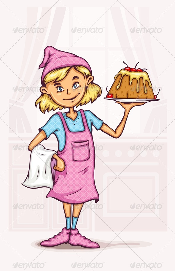 Little Girl Cooking Sweet Cake at the Kitchen - People Characters