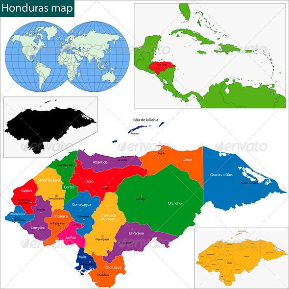 Honduras Map - Travel Conceptual