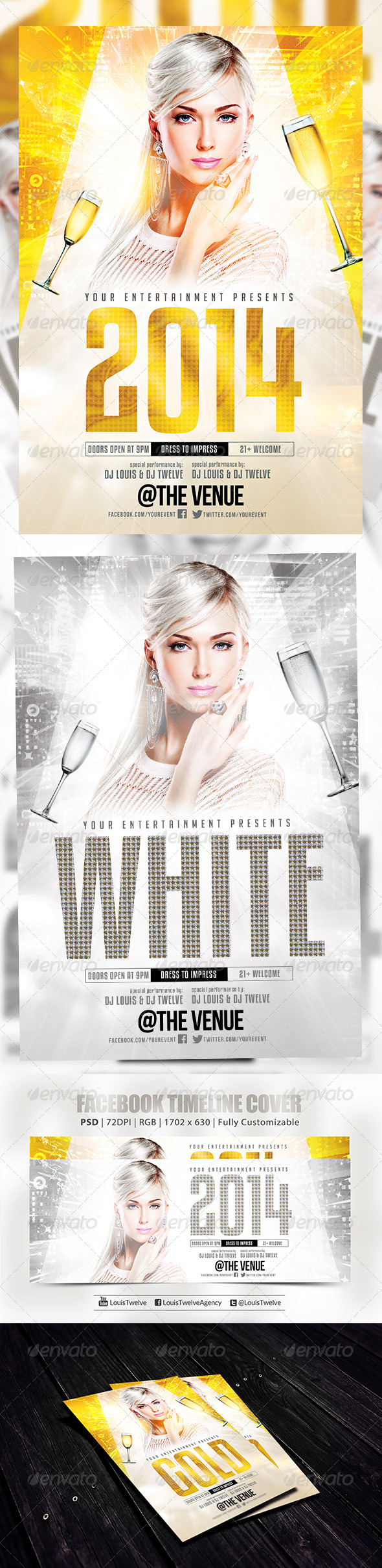 New Year or White Party | Flyer + FB Cover - Holidays Events