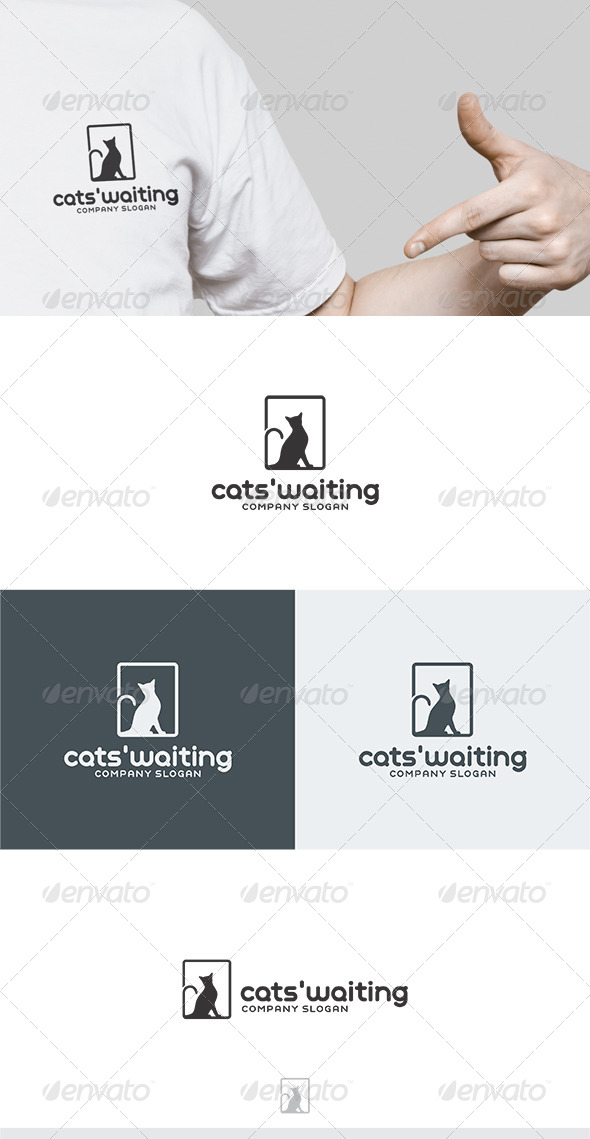 Cats Waiting Logo - Animals Logo Templates