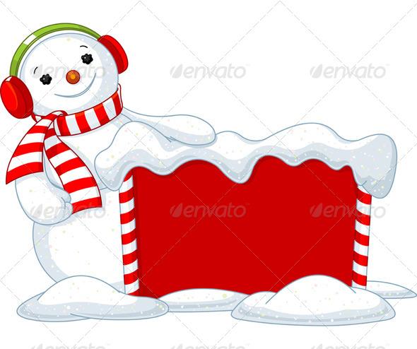 Christmas Board and Snowman - Christmas Seasons/Holidays