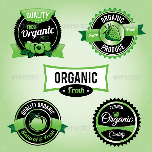Vector Organic Food Labels and Badges - Health/Medicine Conceptual