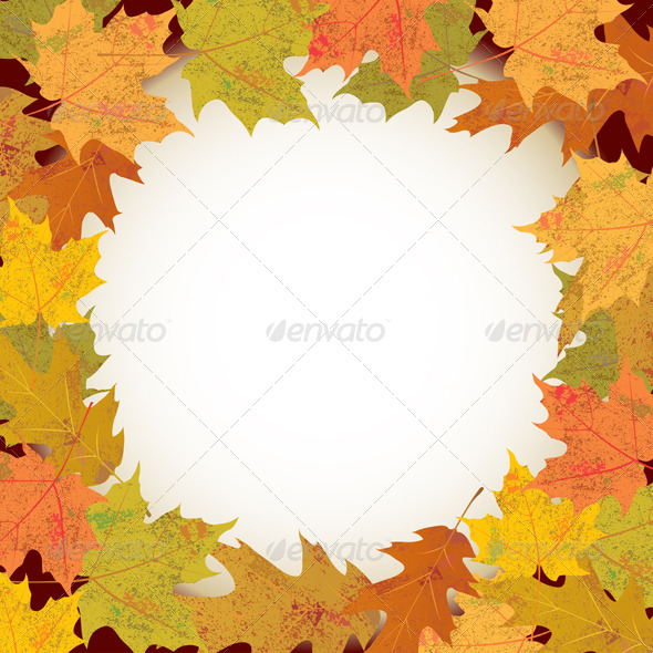Vector Autumn Leaves Circle Background - Borders Decorative