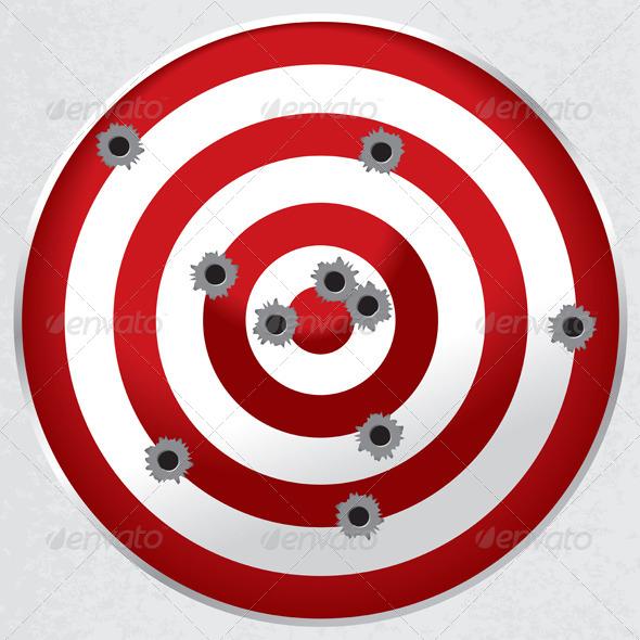 Shooting Range Gun Target with Bullet Holes - Miscellaneous Conceptual