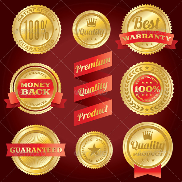 Vector Satisfaction Guarantee and Warranty Labels - Commercial / Shopping Conceptual