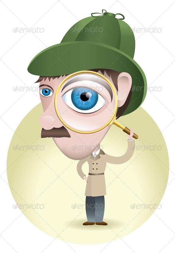 Detective Looking for Clues - Vectors