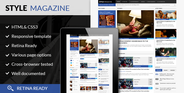 Style Magazine- Responsive HTML5 Website Template - Corporate Site Templates