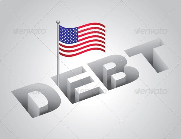 United States National Debt Concept - Conceptual Vectors