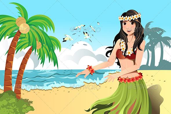 Hawaiian Hula Dancer - People Characters