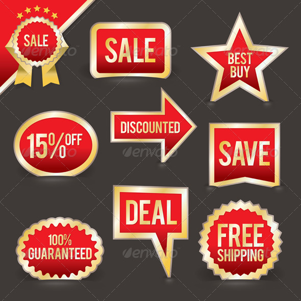 Set of Foiled Sale Badges - Commercial / Shopping Conceptual