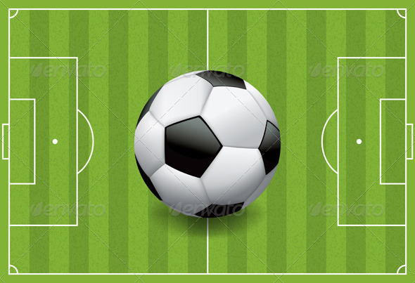 Realistic Football or Soccer Ball on Textured Field - Sports/Activity Conceptual