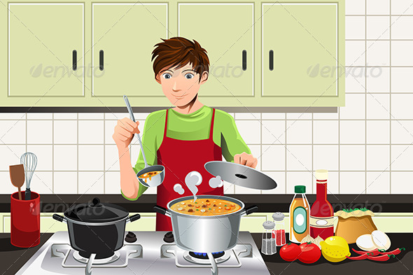 Man Cooking - People Characters