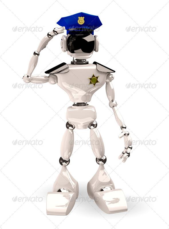 cop robot - Characters 3D Renders