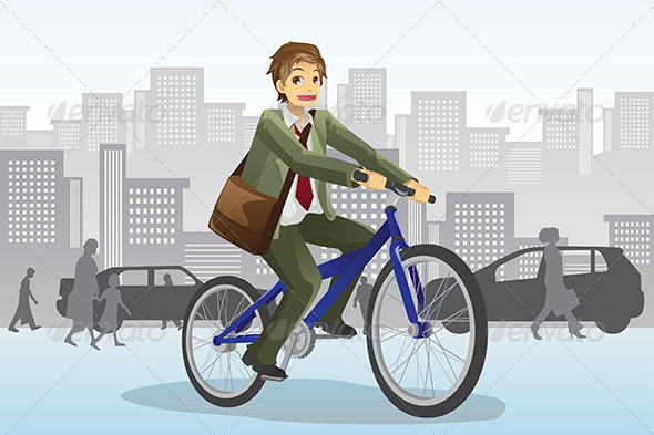 Businessman Riding Bicycle - People Characters