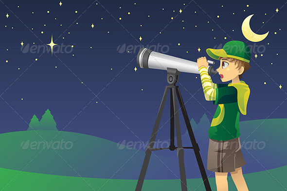 Looking at Stars with Telescope - People Characters