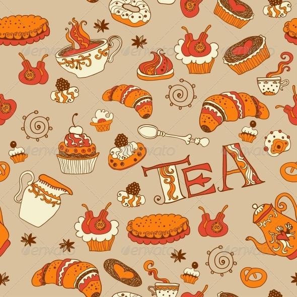 Tea and Sweets Seamless Doodle Pattern - Birthdays Seasons/Holidays