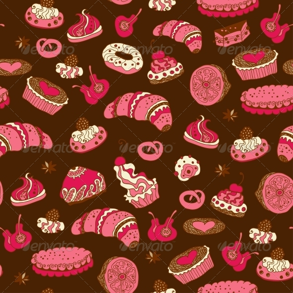 Seamless Pattern with Different Types of Pastries - Birthdays Seasons/Holidays