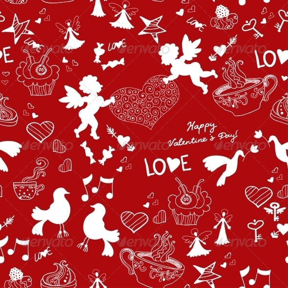 Romantic Love Red Seamless Pattern - Valentines Seasons/Holidays