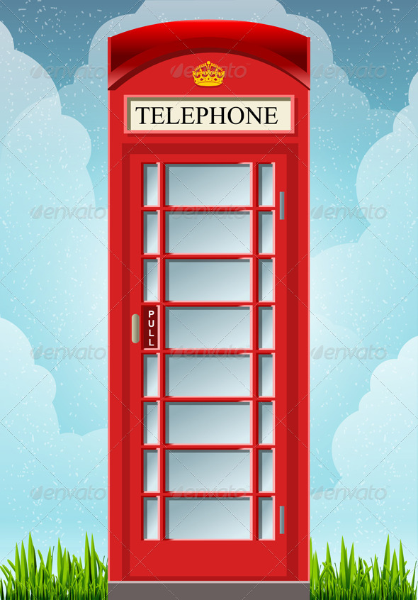 English Red Telephone Cabin  - Objects Vectors