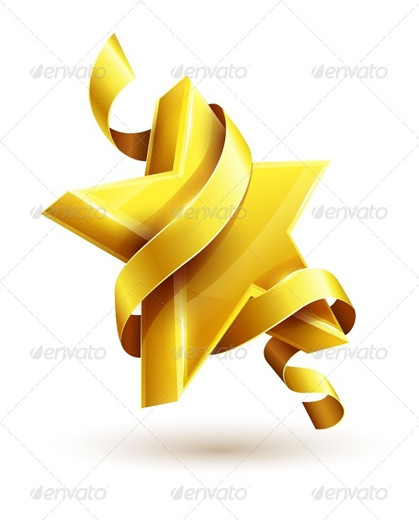 Gold Star with Ribbon - Web Elements Vectors