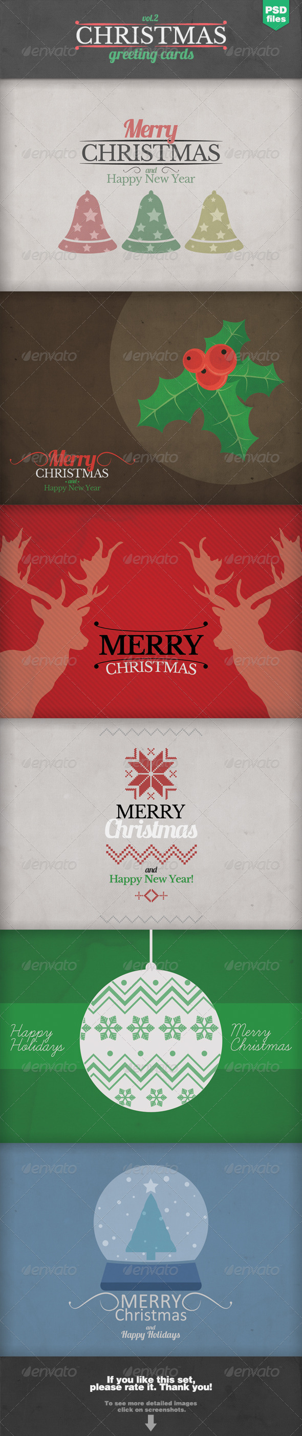 Christmas Greeting Cards Set 2 - Backgrounds Graphics
