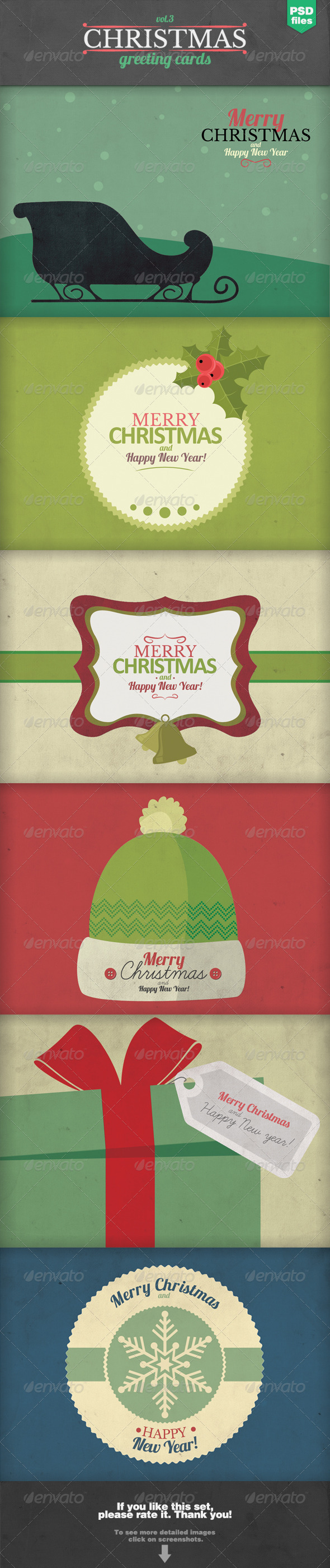 Christmas Greeting Cards Set 3 - Backgrounds Graphics