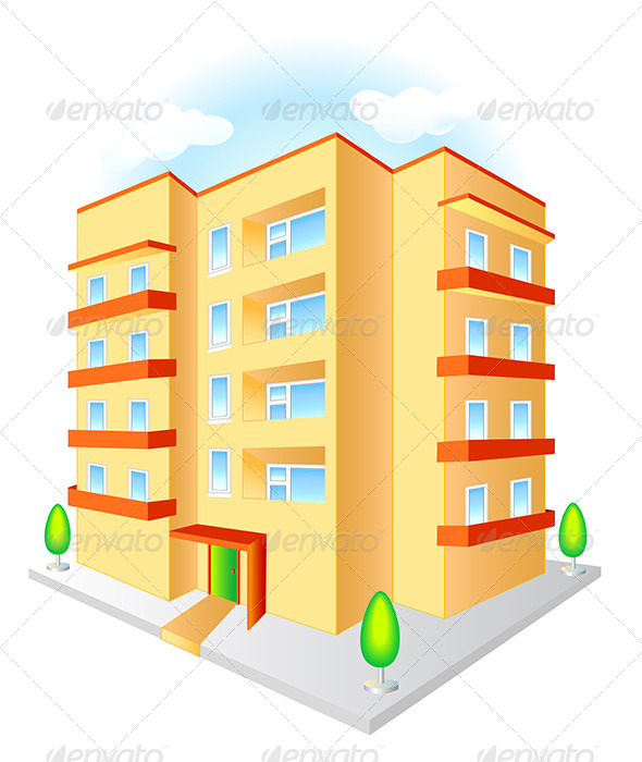New Multistoried Building with Red Balconies - Buildings Objects