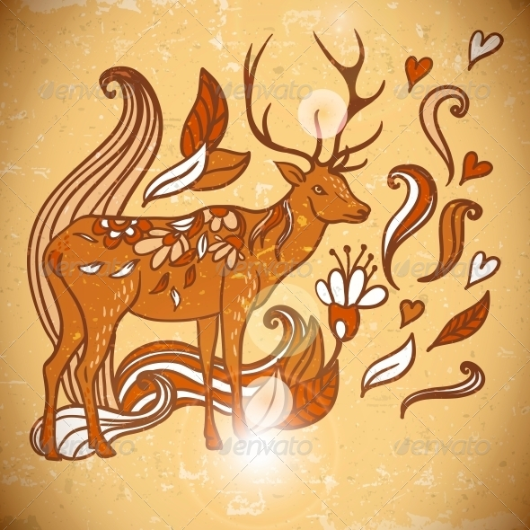 Animal Background Pattern with Swirls and Deer  - Patterns Decorative
