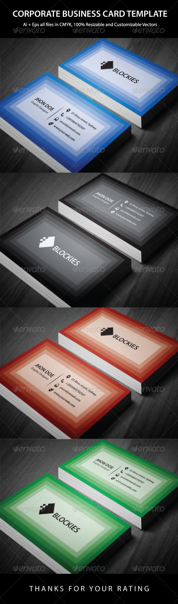 4 Colors Corporate Business Card - Corporate Business Cards