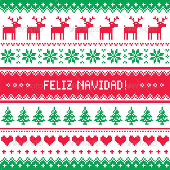 Feliz Navidad Card Scandynavian Christmas Pattern - Christmas Seasons/Holidays