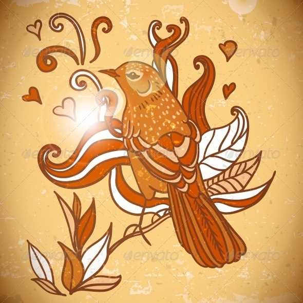 Background with Swirls, Leaves and Bird - Patterns Decorative