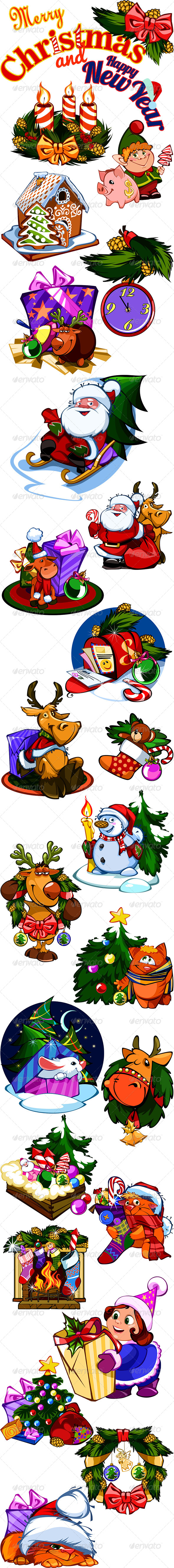 Set of 24 Christmas & New year Illustrations - Christmas Seasons/Holidays
