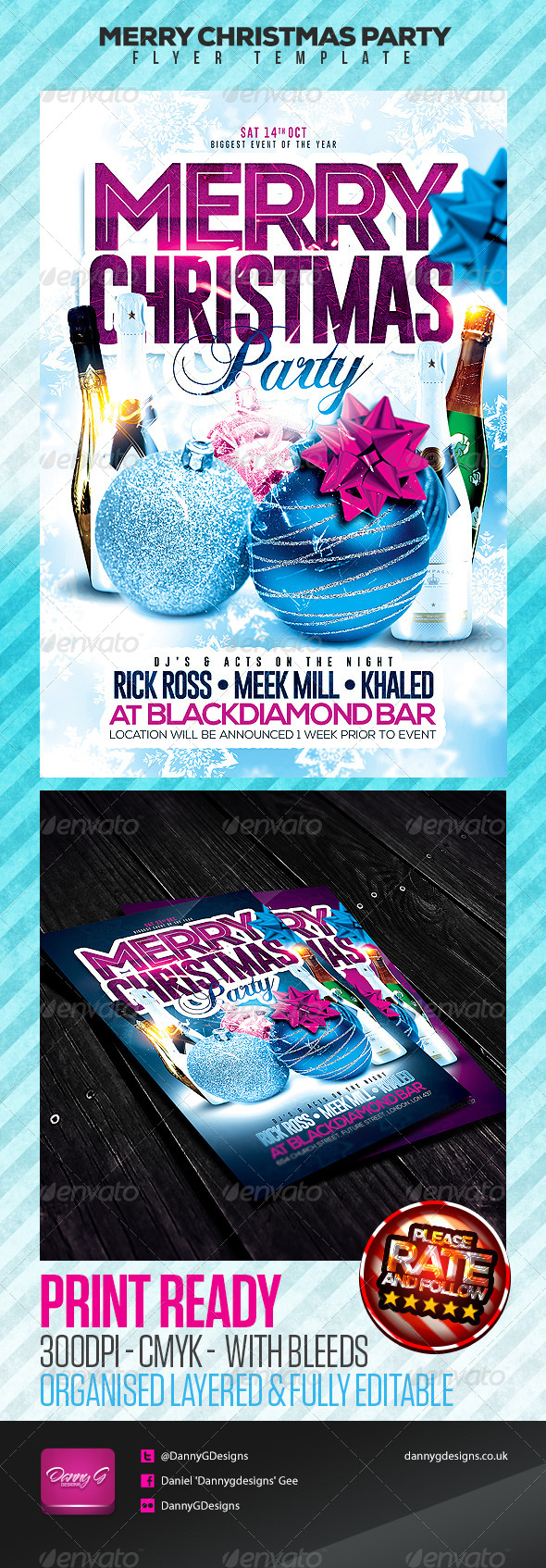 Merry Christmas Party Flyer Template - Clubs & Parties Events