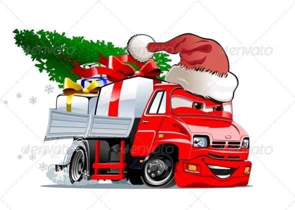 Cartoon Christmas Truck - Christmas Seasons/Holidays