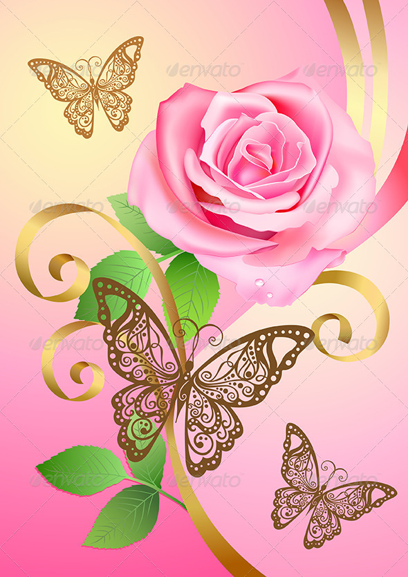 Greeting Postcard with Rose and Butterflies  - Miscellaneous Seasons/Holidays