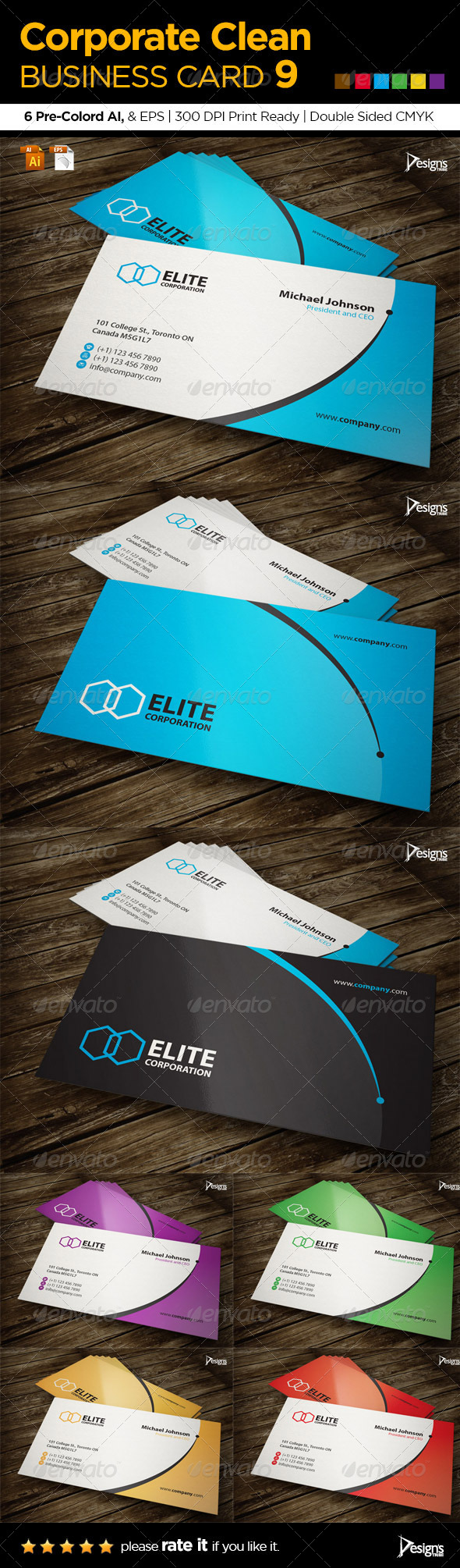 Corporate Clean Business Card 9 - Corporate Business Cards