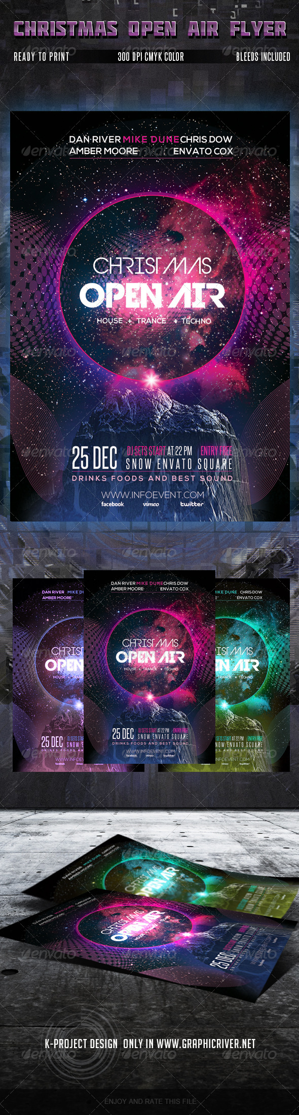Christmas Open Air Party Flyer - Clubs & Parties Events