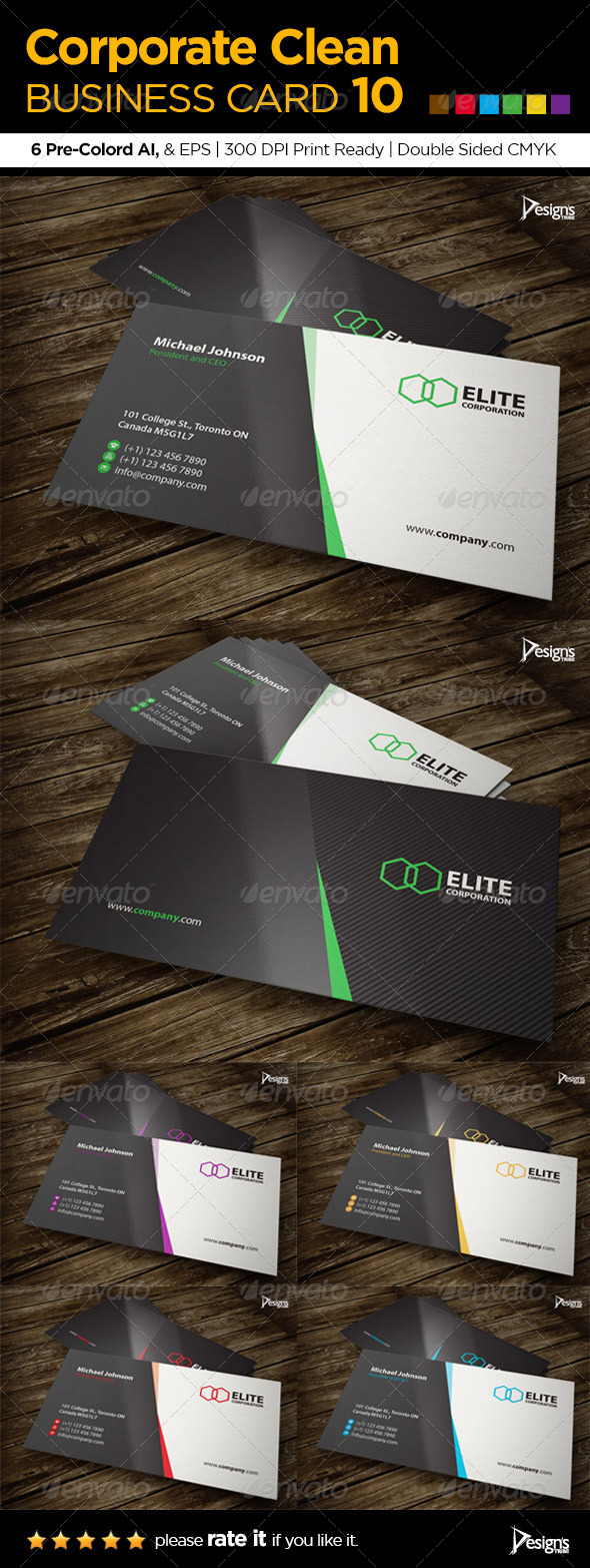 Corporate Clean Business Card 10 - Corporate Business Cards