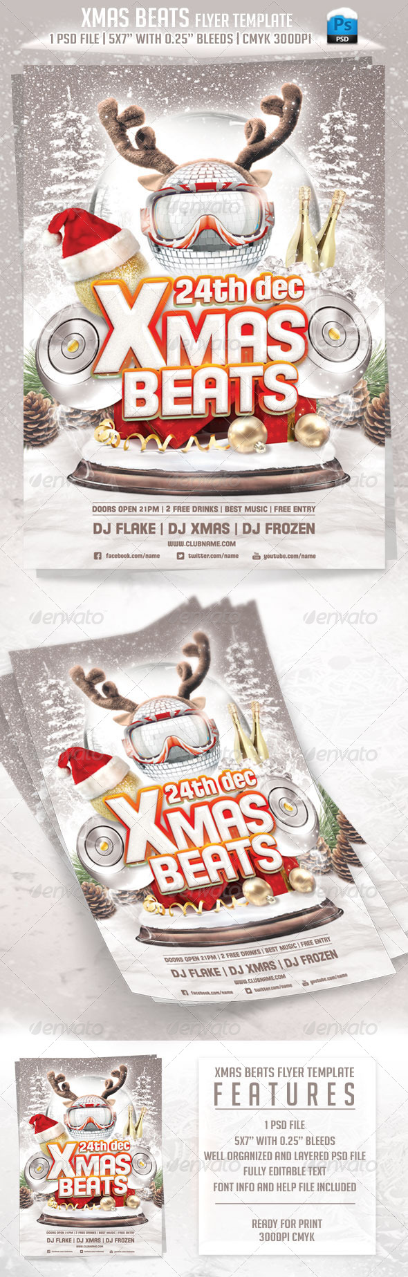 Xmas Beats Flyer Template - Clubs & Parties Events