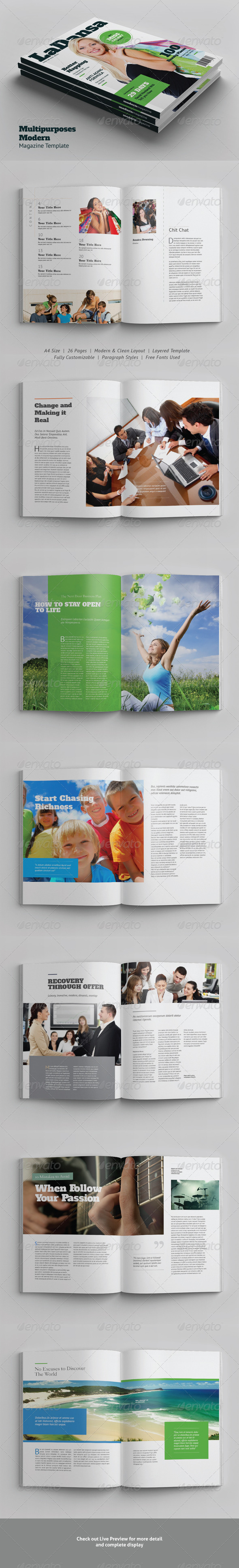A4/Letter Multipurposes Modern Magazine Template - Magazines Print Templates