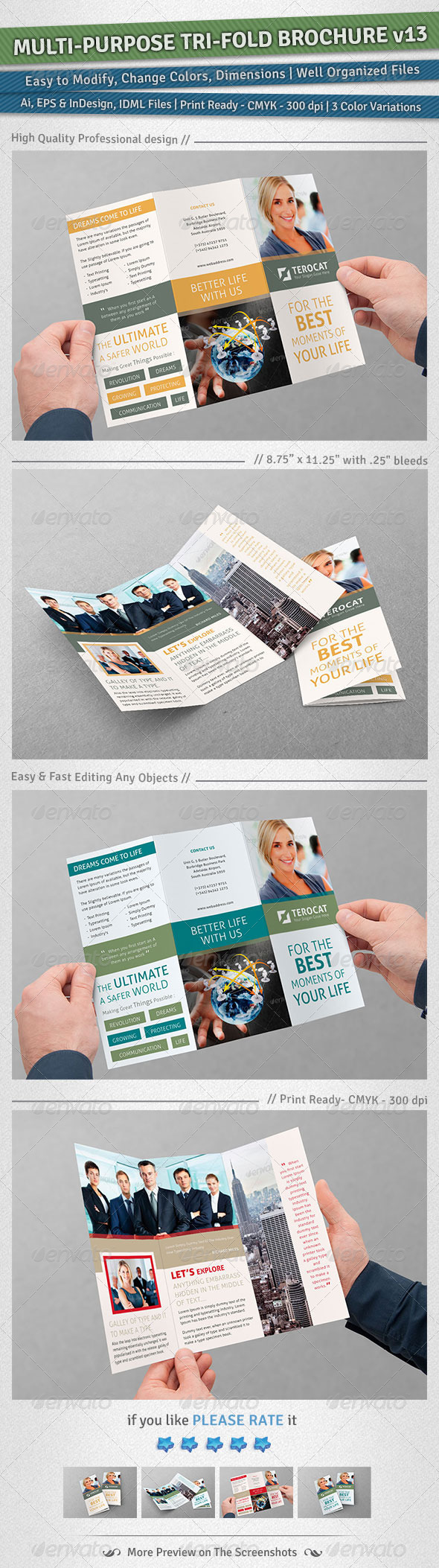Multi-purpose Tri-Fold Brochure | Volume 13 - Corporate Brochures