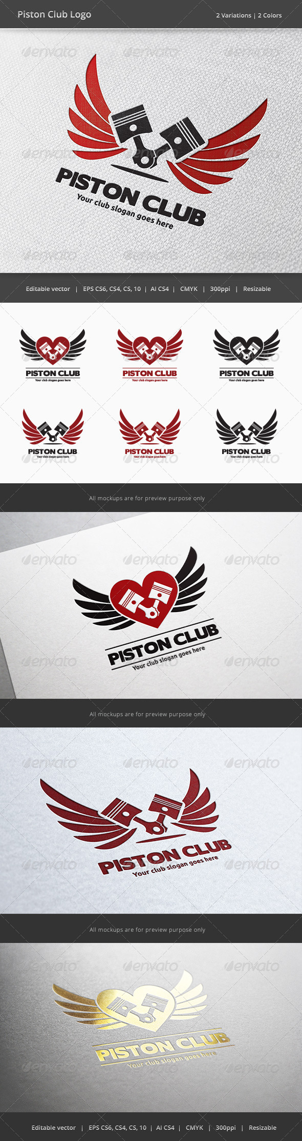 Piston Car and Motorcycle Club Logo - Objects Logo Templates