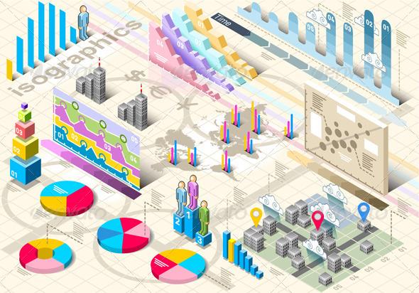 Isometric Infographic Set Elements - Infographics