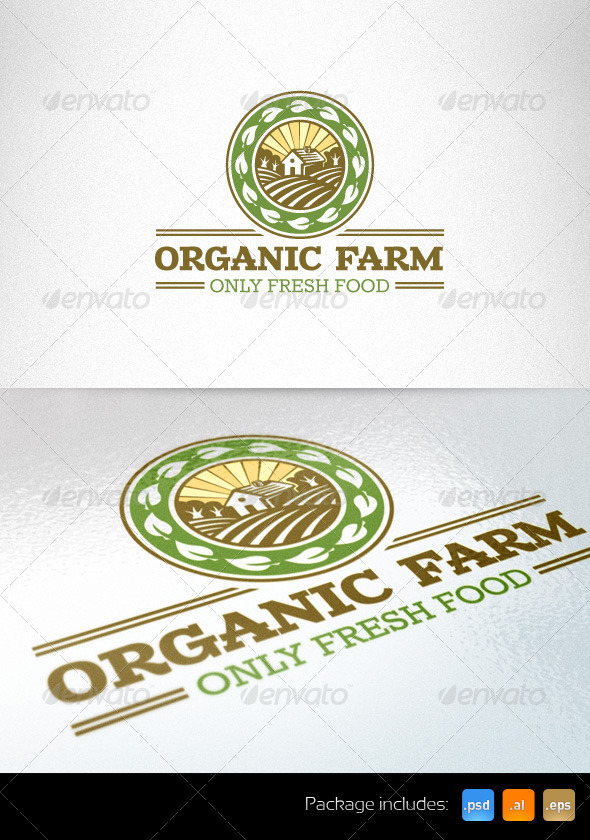 Organic Farm Fresh Food Logo Template - Nature Logo Templates