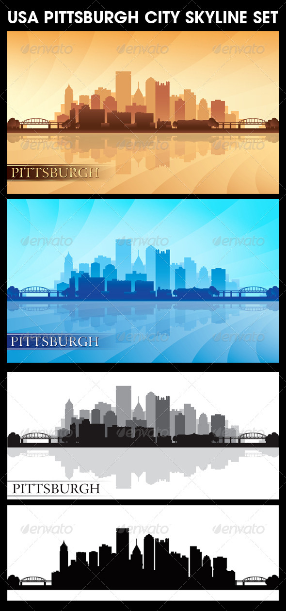 Pittsburgh USA City Skyline Silhouettes Set - Backgrounds Decorative