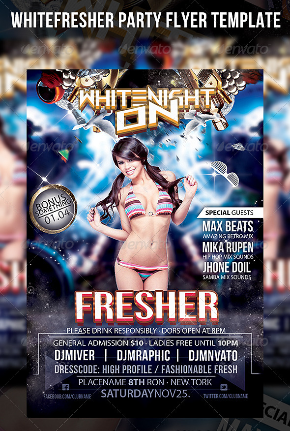Whitefresher Party Flyer Template - Events Flyers
